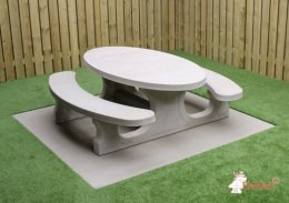 Picknickset Standard aus Beton in ovaler Form